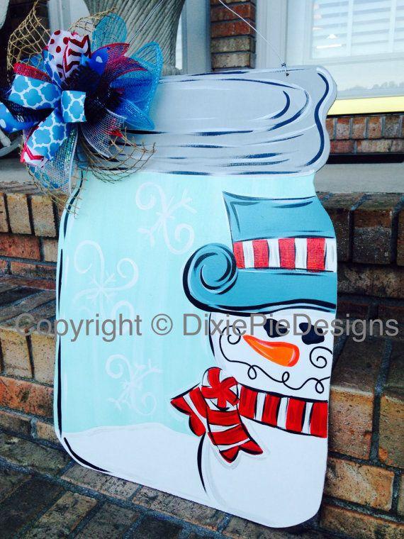 Mason Jar Door Hanger In Stock Christmas Door by dixiepiedesigns