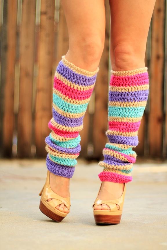 bright rainbow leg warmers