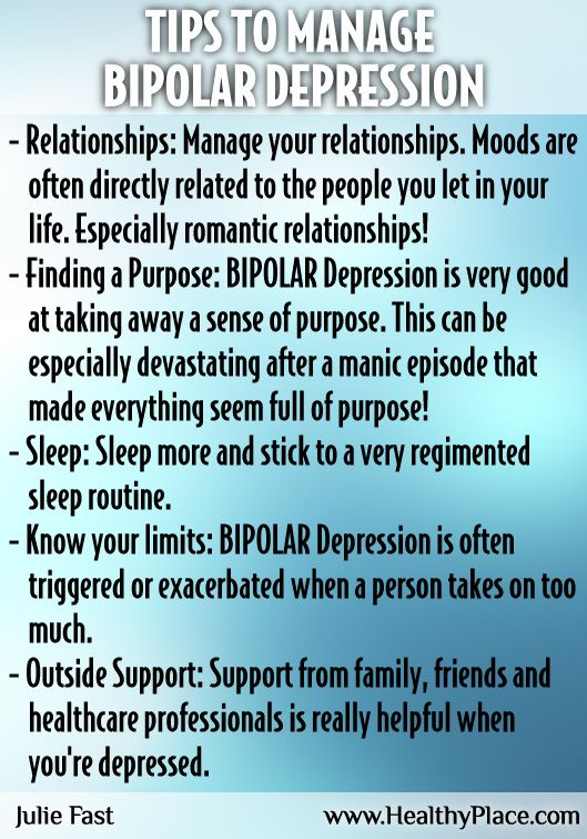 Need help managing your bipolar depression symptoms. Here are some ideas from mental health author and HealthyPlace writer, Julie Fast.