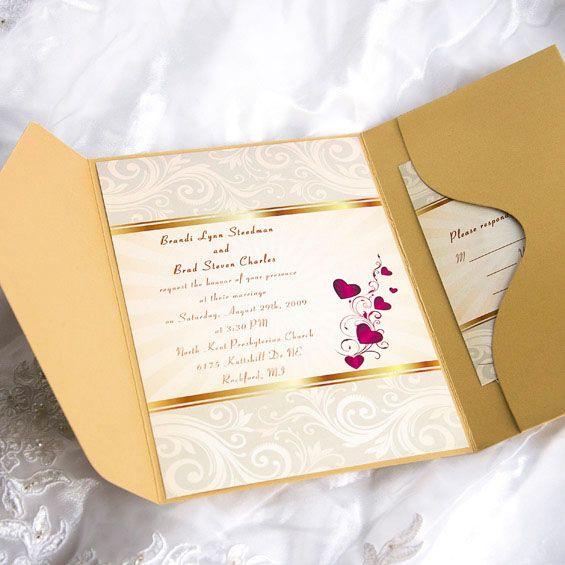 Elegant Gold Damask And Red Hearts Pocket Wedding Invitations EWPI003