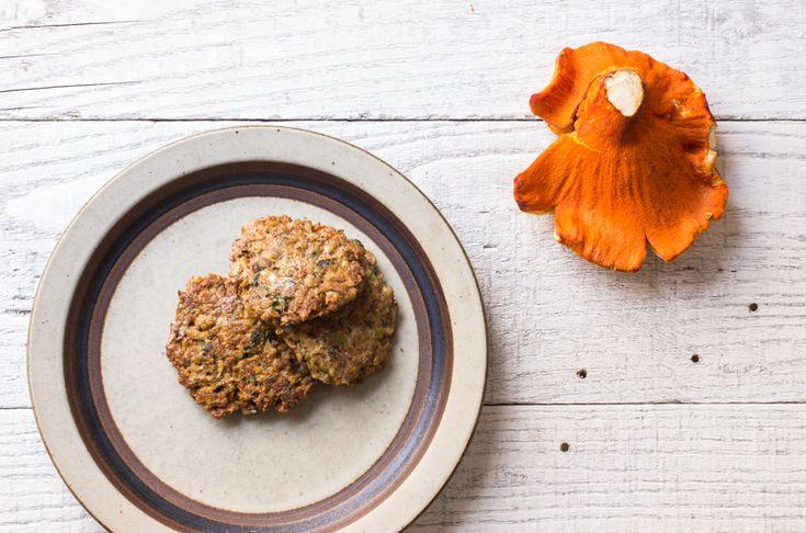 Lobster mushroom cakes take a semi-bland mushroom to new levels.