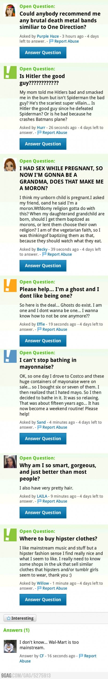 Meanwhile On Yahoo! Answeres