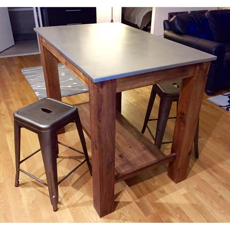 West Elm Rustic Kitchen Island Bar Table W 2 Crate