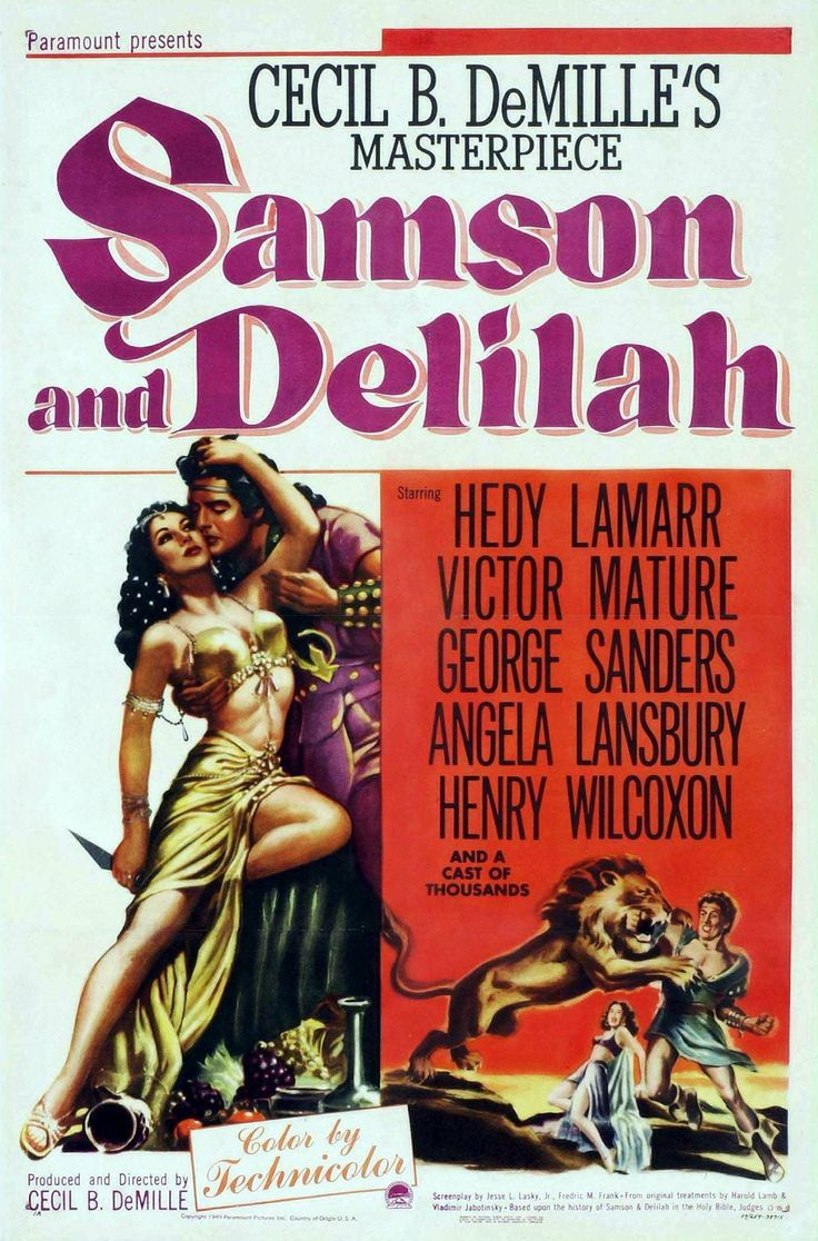 Samson and Delilah (1949) Not Rated | 2h 11min | January 1950 (USA) - When strongman Samson rejects the love of the beautiful Philistine woman Delilah, she seeks vengeance that brings horrible consequences they both regret.