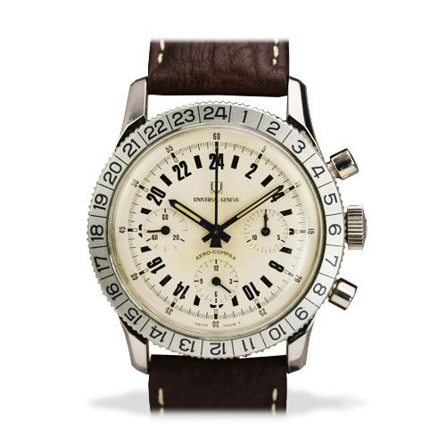 Universal stainless-steel 24-hour chronograph, 1960s, offered by Matthew Bain Inc.
