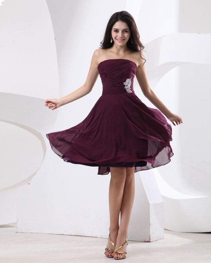 Strapless Knee Length Bridesmaid Dress With Pleated Bodice and Nice Appliques in the waistline