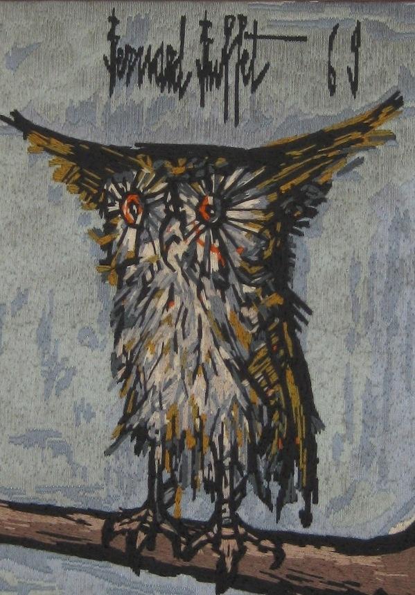 Owl pattern from painting of bernard buffet for Buffet bernard