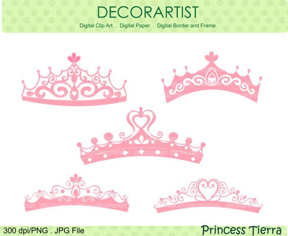 princess clip art , tiara clip art , Silhouette Princess tiara clip art, princess, Pink,  instant download clip art. $4.80, via Etsy.