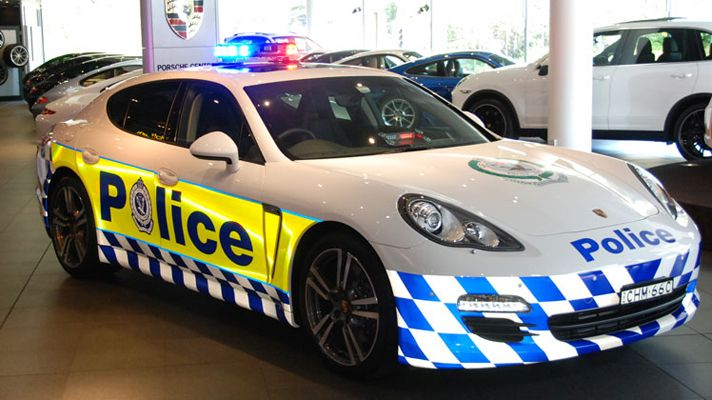 """This is a photo of a Porsche Panamera police car donated to New South Wales Police Australia by Porsche."""