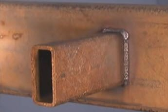 Welding a rusty joint is done well with 6010 or 6011 welding electrodes.