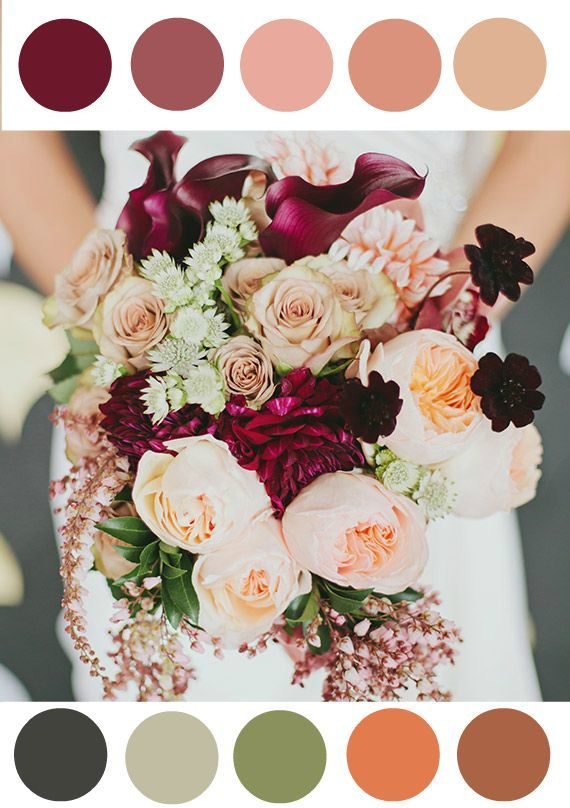 Love these colors!  Fall Wedding - color pallet - greens, maroon, burgundy, rose pink, beige, orange, brown, green, dark grey, mint. Great for bridesmaid dresses and flower arrangements