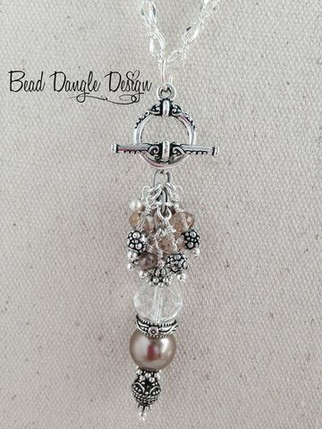 Champagne Pearl and Crystal Beaded Dangle Necklace