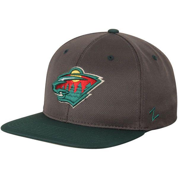 Minnesota Wild Zephyr Rundown Vapor Tech Snapback Adjustable Hat - Charcoal/Green - $26.99