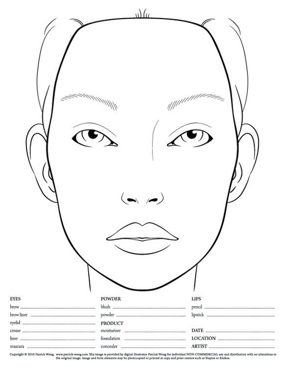Blank Face Chart Templates Male Charts And Female