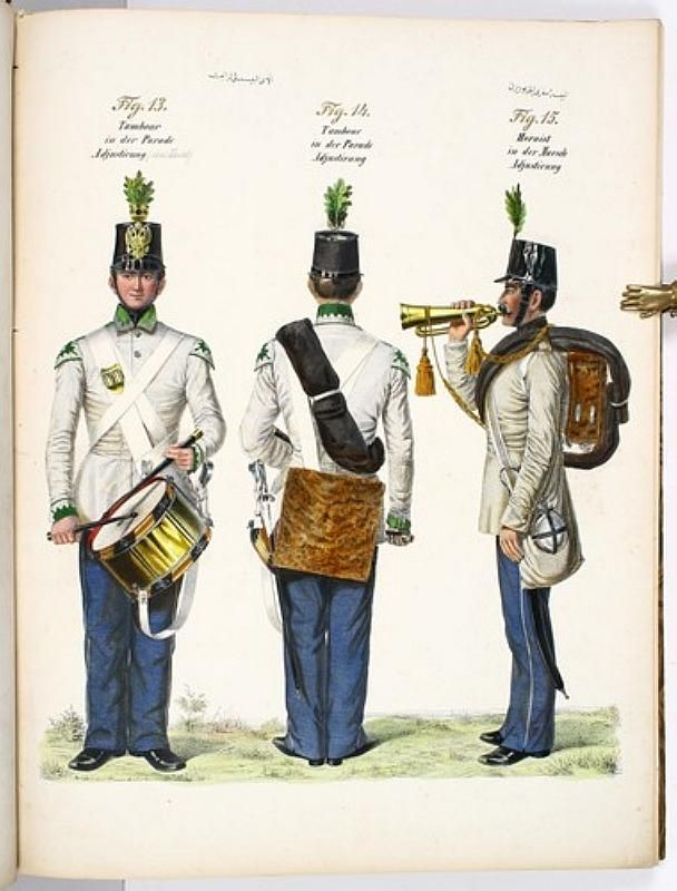 Austrian musicians with some interesting uniform details. The two on the left are in full dress uniforms (note the colored facings and uncovered shako). The bugler on the right is in the field uniform - note the covered shako and much plainer coat that only has a small collar tab denoting the regimental facing color (not visible in this view). All wear the 'feldzeichen' leaves in their shakos.