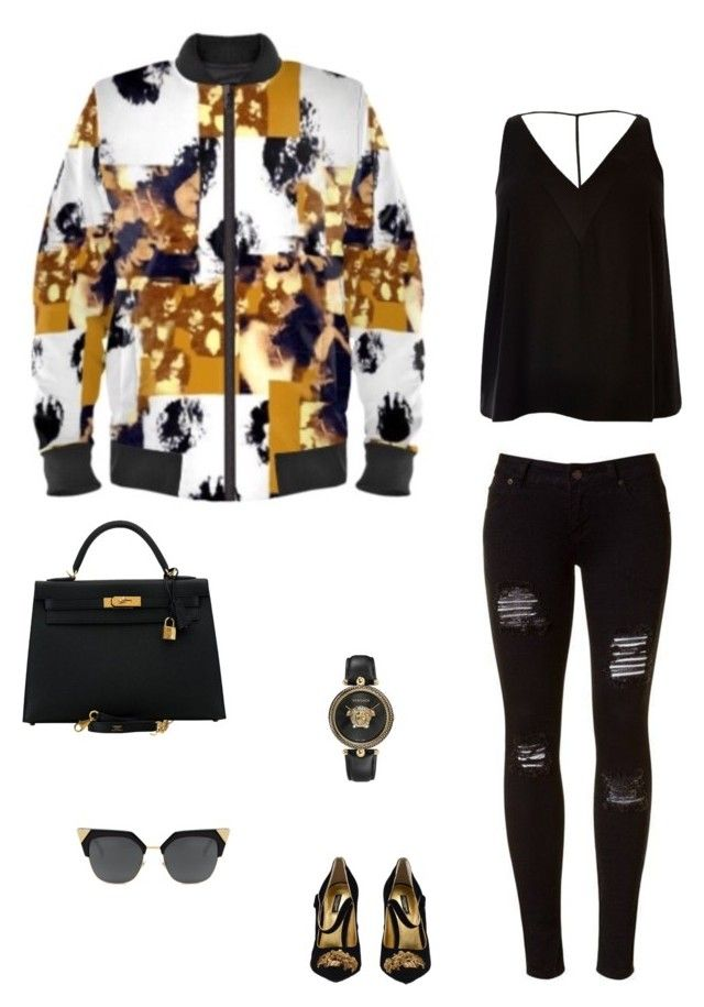 """""""Serengeti"""" jacket ootd by guutanii on Polyvore featuring polyvore, fashion, style, River Island, Dolce&Gabbana, Hermès, Versace and clothing"""