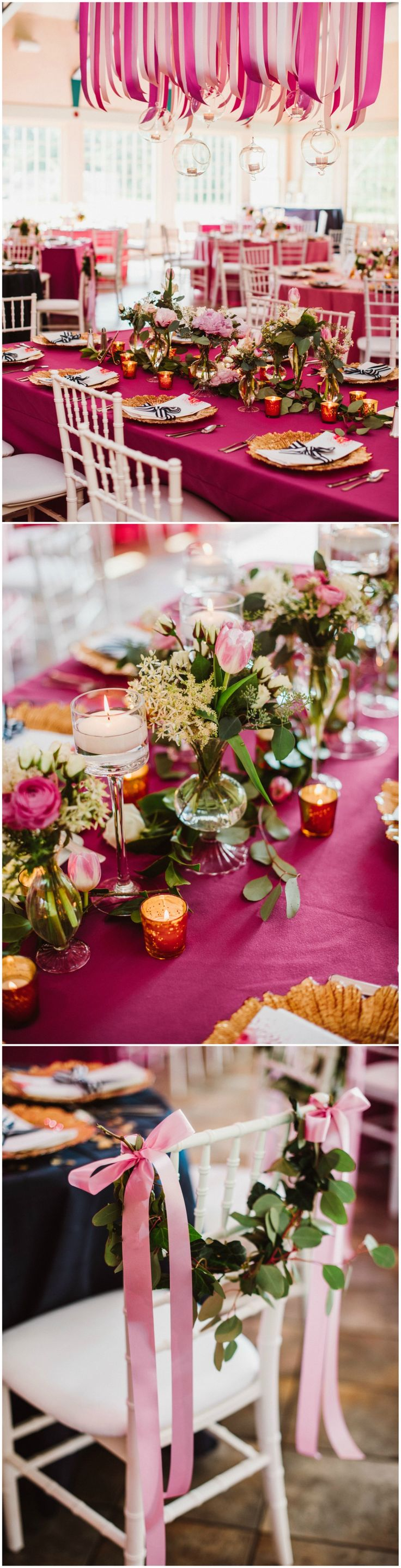 Pink wedding reception, suspended pink silk ribbons, pink tablecloths, loose leaves, gold chargers, see the full wedding feature on borrowedandblue.com // Aster + Olive Photography