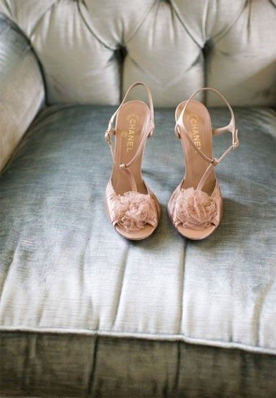Chanel blush wedding shoes