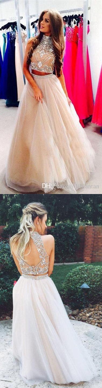 2017 prom dresses,long prom dresses,2 pieces prom dresses,elegant prom dresses,champagne prom dresses,fashion,women's fashion,long prom dresses 2w