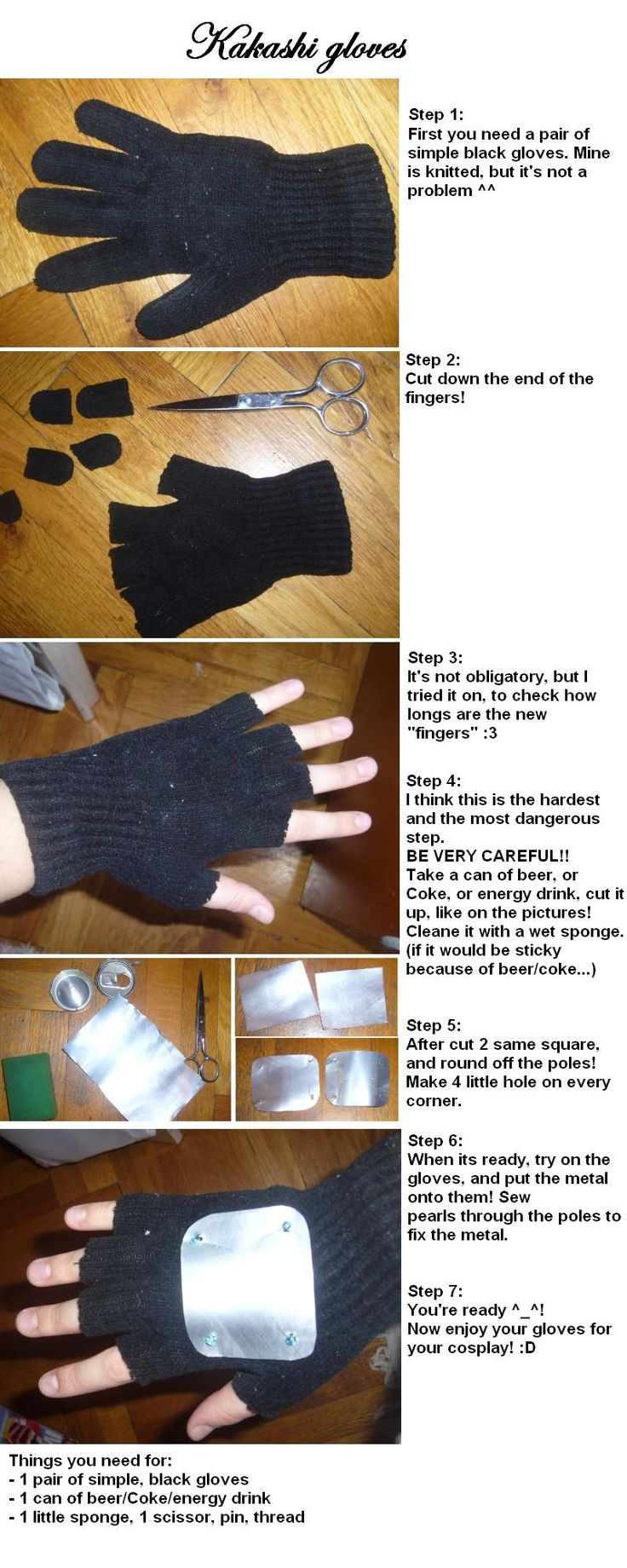 Hatake Kakashi gloves tutorial by kakashifanchiyo