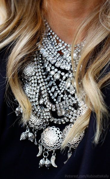 Black and Silver | Accessories...love the statement necklace!