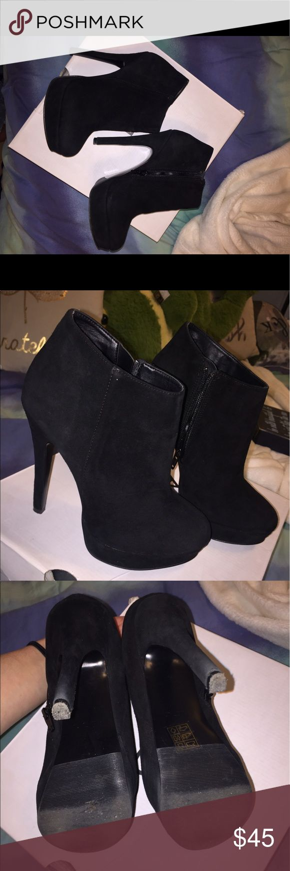 Aldo Black Suede boots Aldo Black high heel booties, worn a few times Aldo Shoes Ankle Boots & Booties