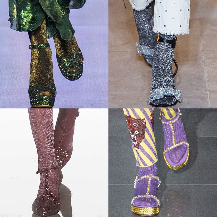 "Trendy Shoe Styling for #FW17: ""Double Shine"" Metallic starbusrt glitter Socks paired with glittery Heels. Anna Sui, Isabel Marant, Missoni, and Gucci Fall Winter 2017.  More Shoes Trends for Fall Winter 2017."