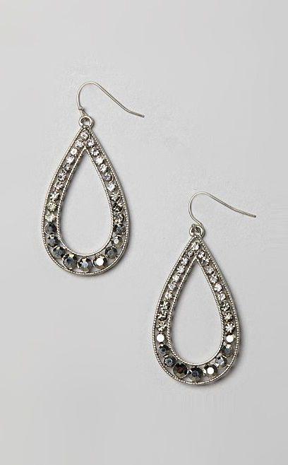 Silver & Hematite Crystal Diva Into the Pool Teardrop Earrings