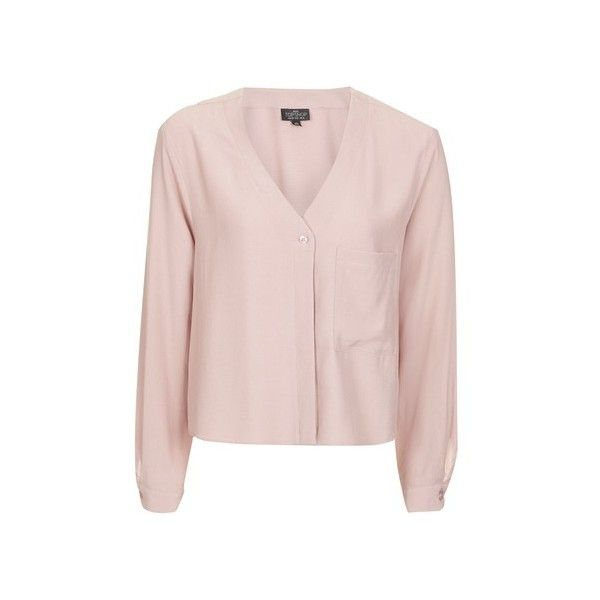 Topshop Petite Slouchy Pocket Blouse (£32) ❤ liked on Polyvore featuring tops, blouses, blush, v neck shirt, pink crop top, long sleeve blouse, crop shirt and long sleeve crop top
