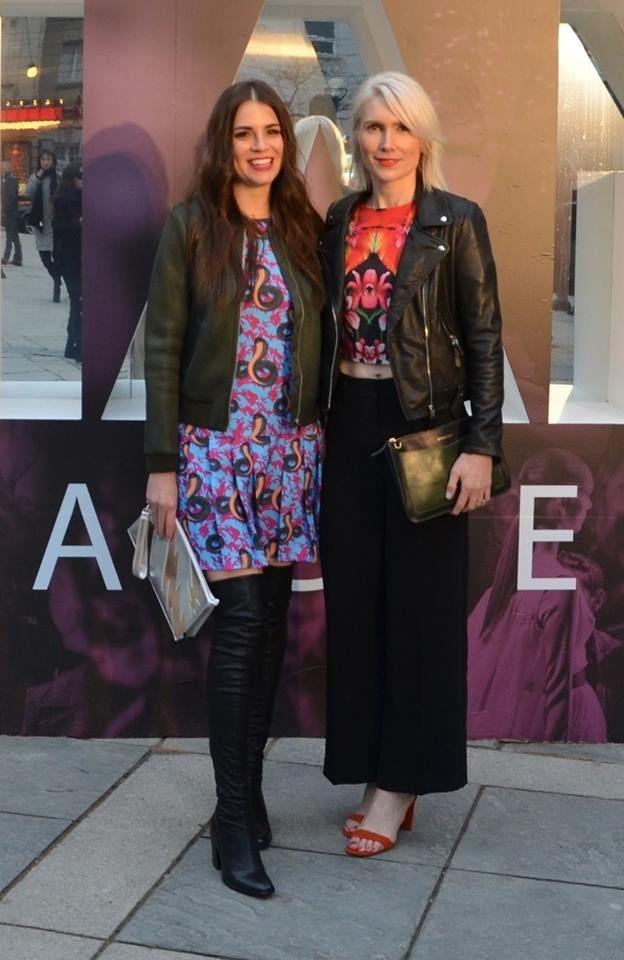 While two Patrons Pose, Toronto Fashion Week - FW16