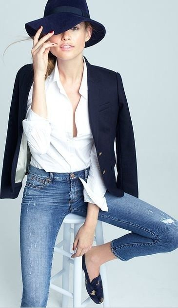 Tommy Hilfiger White Shirt; J Brand Light Denim Ripped Jeans; Hi There Karen Walker Stripe Blazer; RAG & BONE BLACK FEDORA; Witchery Black Jewel Ballet Flats.