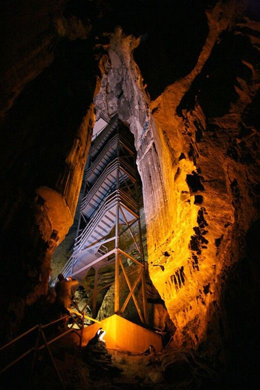 Staircase tower in Mammoth Dome, Mammoth Cave, Kentucky.