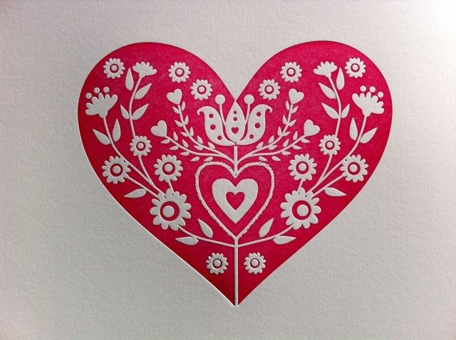 Letterpress Folk Heart print by Dutch Door Press on Etsy