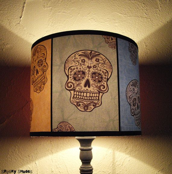 Hey, I found this really awesome Etsy listing at https://www.etsy.com/listing/129576707/rainbow-sugar-skulls-lamp-shade