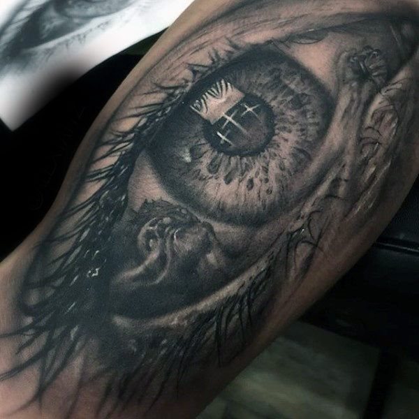 100 religious tattoos for men sacred design ideas for Crystal eye tattoos