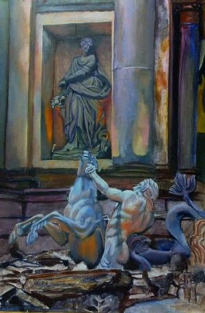 Trevi. Right Triton 36 x 24 (91.5cm x 61.0cm) Oil on canvas board. Right side of a triptic set on the Trevi Fountain at Rome. Phil Carrero.