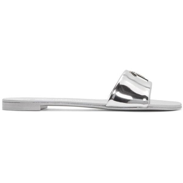 Giuseppe Zanotti Silver Metallic Nuvoroll Sandals (9,020 MXN) ❤ liked on Polyvore featuring shoes, sandals, silver, strappy sandals, silver metallic shoes, slip-on shoes, slip on shoes and silver metallic sandals