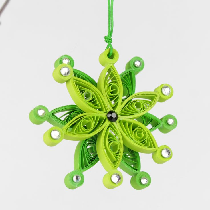 Christmas Green Double Quilling Snowflake