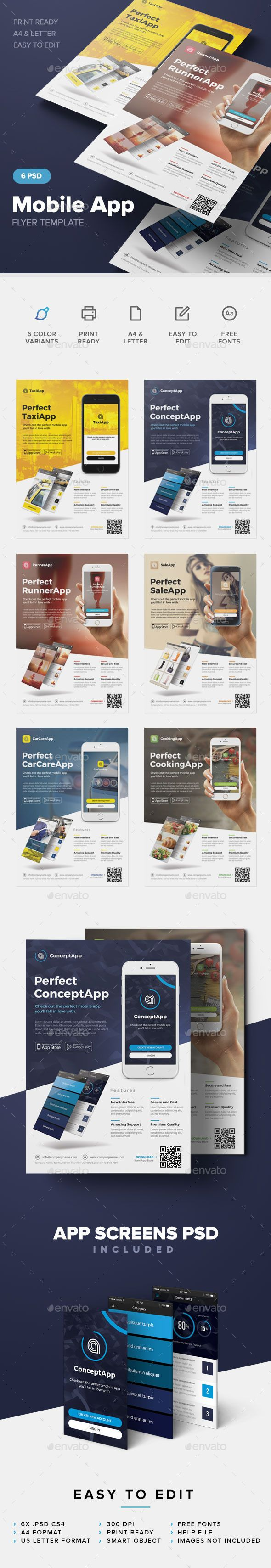 #Mobile App Flyer Template - Commerce Flyers Download here: https://graphicriver.net/item/mobile-app-flyer-template/12649951?reff=Classicdesignp