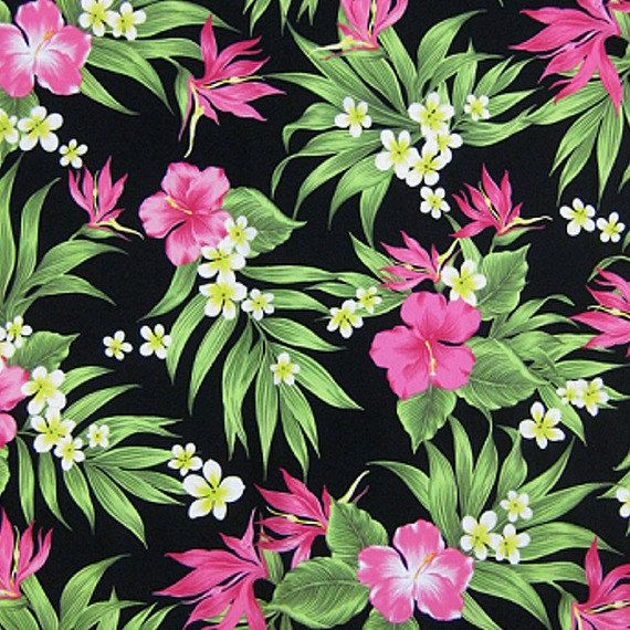 Pink Tropical Garden Spandex Fabric SALE 4 Way by BigFabricDeals