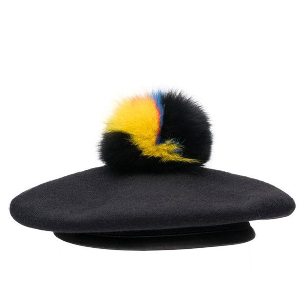 Eugenia Kim Hadley Felted Beret w/ Fur Pompom ($175) ❤ liked on Polyvore featuring accessories, hats, accessories hats, black, eugenia kim, fur pom-pom hats, beret hat, eugenia kim hats and pompom hat