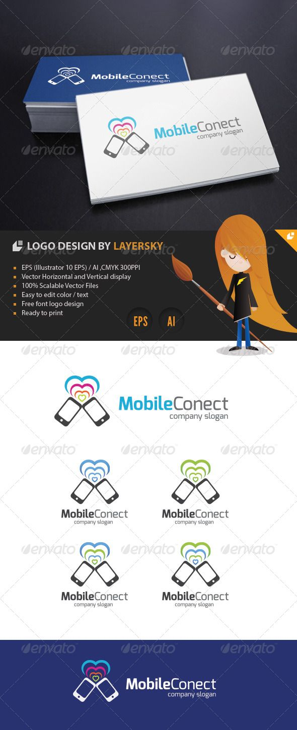 Mobile Connect Logo — Vector EPS #wedding #smart phone • Available here → https://graphicriver.net/item/mobile-connect-logo/4246307?ref=pxcr