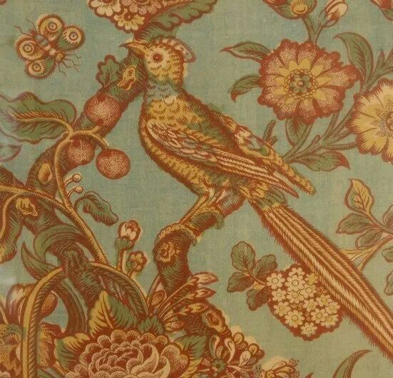 English bird chintz c.1825 posted by Textile Timeline