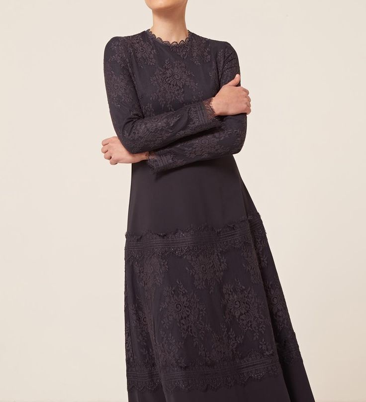 INAYAH   New In   Vintage style in a contemporary cut.    Washed Navy Panelled Lace Dress    www.inayah.co
