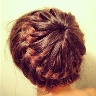 "Make a ponytail in the middle of your head leaving an equal amount of hair out around your whole head. Then, take a strand from your open hair and one from the ponytail, split them into three parts and then french braid regularly! starburst explosion"" data-componentType=""MODAL_PIN"