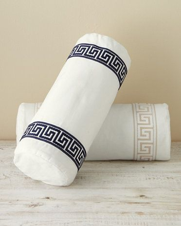 bolster pillow cover with greek key design available in