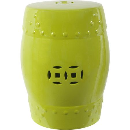 Add artful appeal to your home library or living room with this eye-catching ceramic garden stool, showcasing a cutout accent and charming green finish.