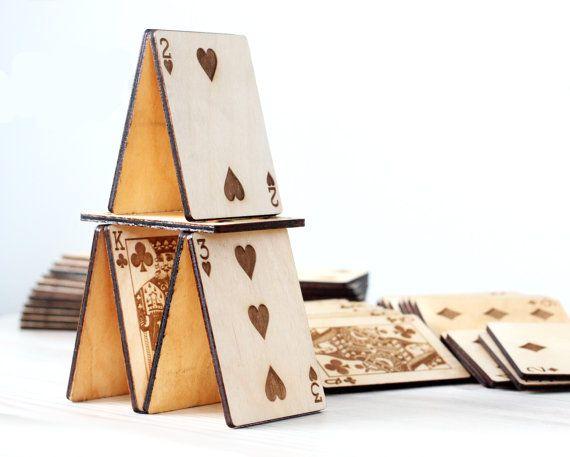 Naipes - cartas de recuerdo grabado corte Laser - tarjeta personalizada jugando - de madera