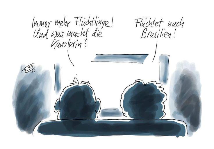 """toujours et encore Klaus Stuttmann """"Tjs + de réfugiés. Mais que fait Merkel?  Elle s'est réfugié au Brésil"""""""