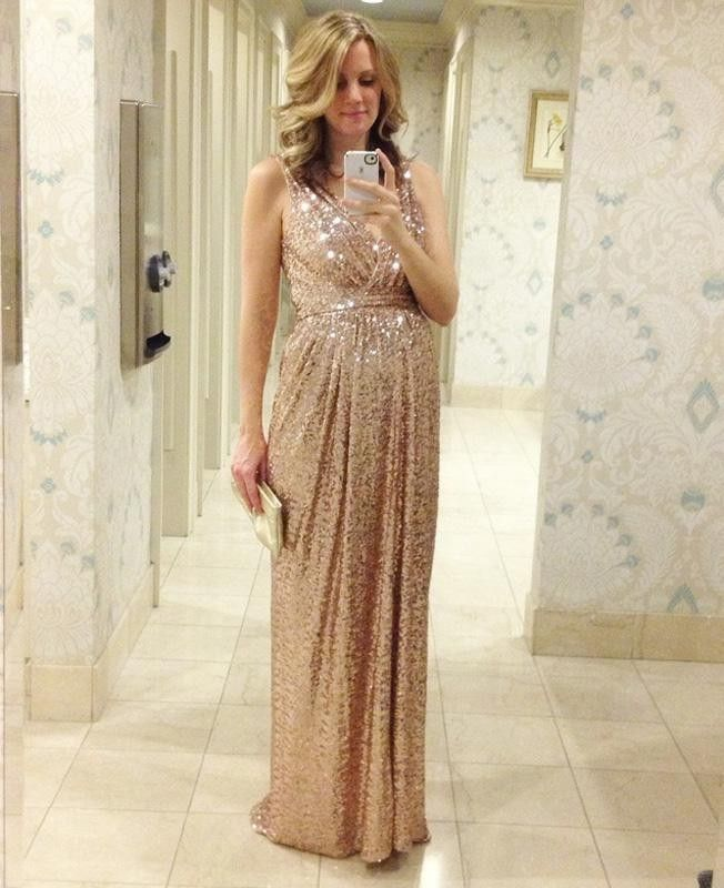 Cream and gold maternity dress